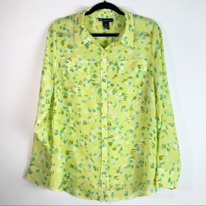 Lane Bryant neon printed long sleeve blouse